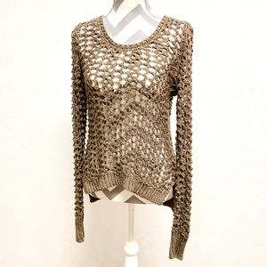 {Lucky Brand} Loose Open Knit Metallic Sweater